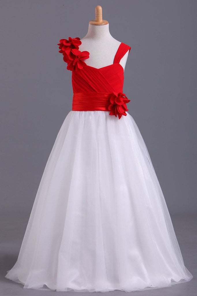 Bicolor Straps A-Line Chiffon & Tulle Flower Girl Dresses With Ruffles