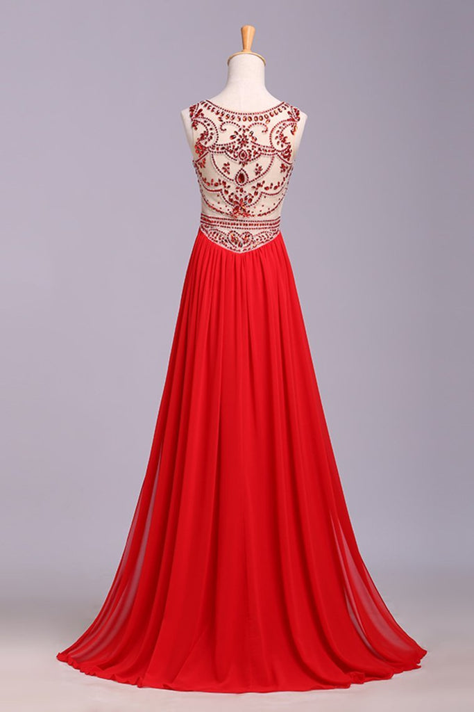 Hot Selling Scoop A Line Full Length Prom Dress Beaded Tulle Bodice With Chiffon Skirt Ready To Ship