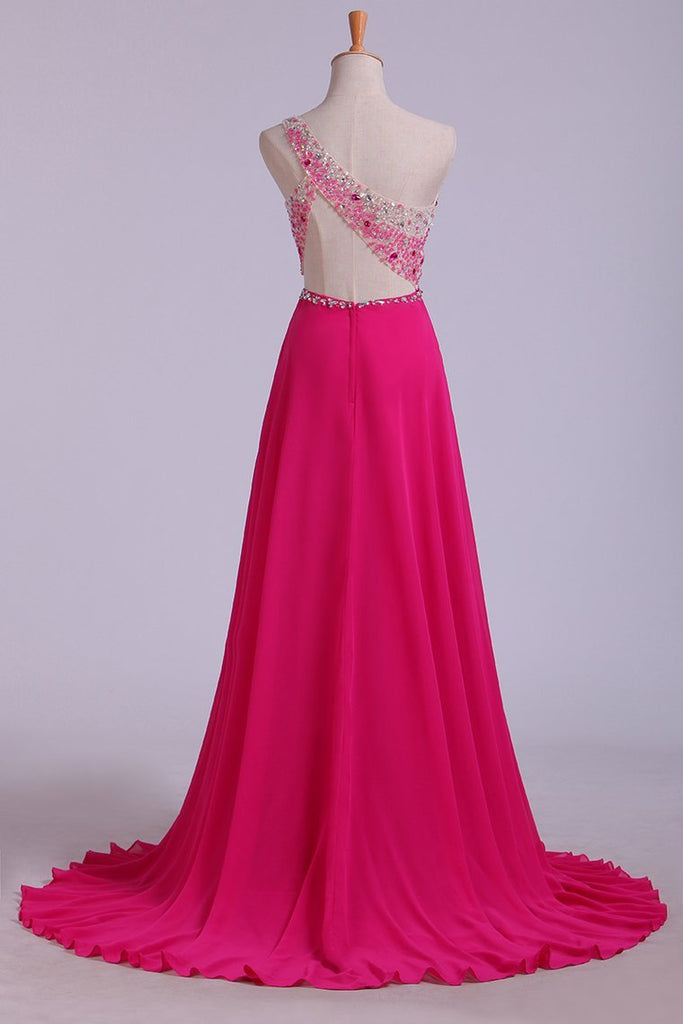 Prom Dresses A Line One Shoulder With Beading Tulle & Chiffon Sweep Train