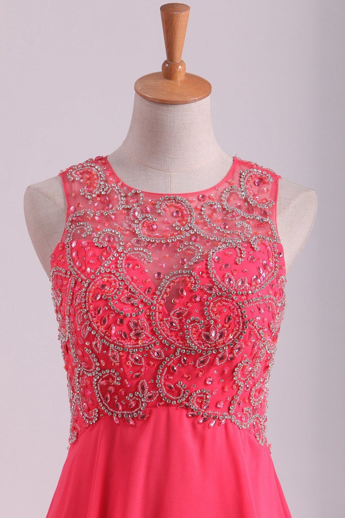 Water Melon Prom Dresses Scoop A Line Beaded Bodice Open Back Chiffon & Tulle