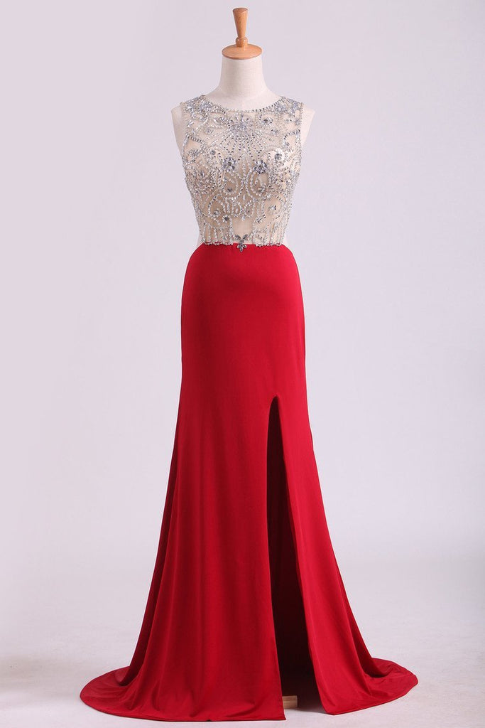 Prom Dresses Scoop Beaded Bodice Spandex With Beading Backless