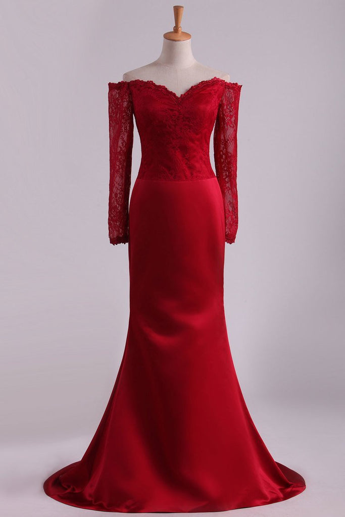 Prom Dresses Mermaid/Trumpet Spandex With Applique Sweep Train Red