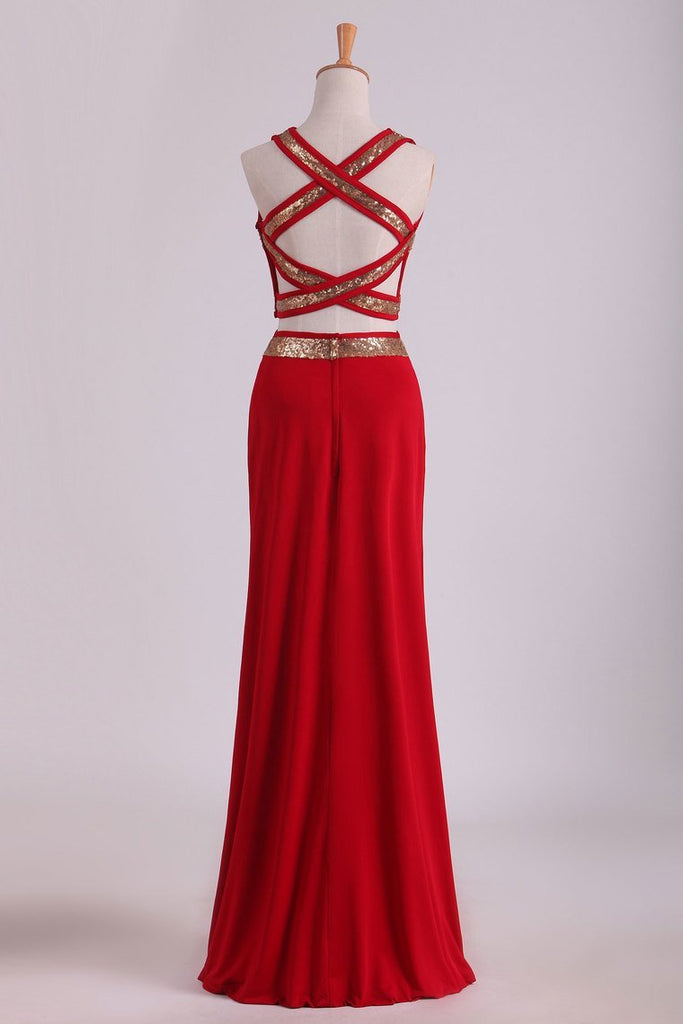 Open Back Prom Dresses Two Pieces Spandex With Beads And Slit Sheath