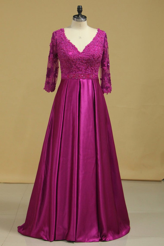 Plus Size V Neck A Line Mother Of The Bride Dresses Satin With Applique & Beads 3/4 Length Sleeves