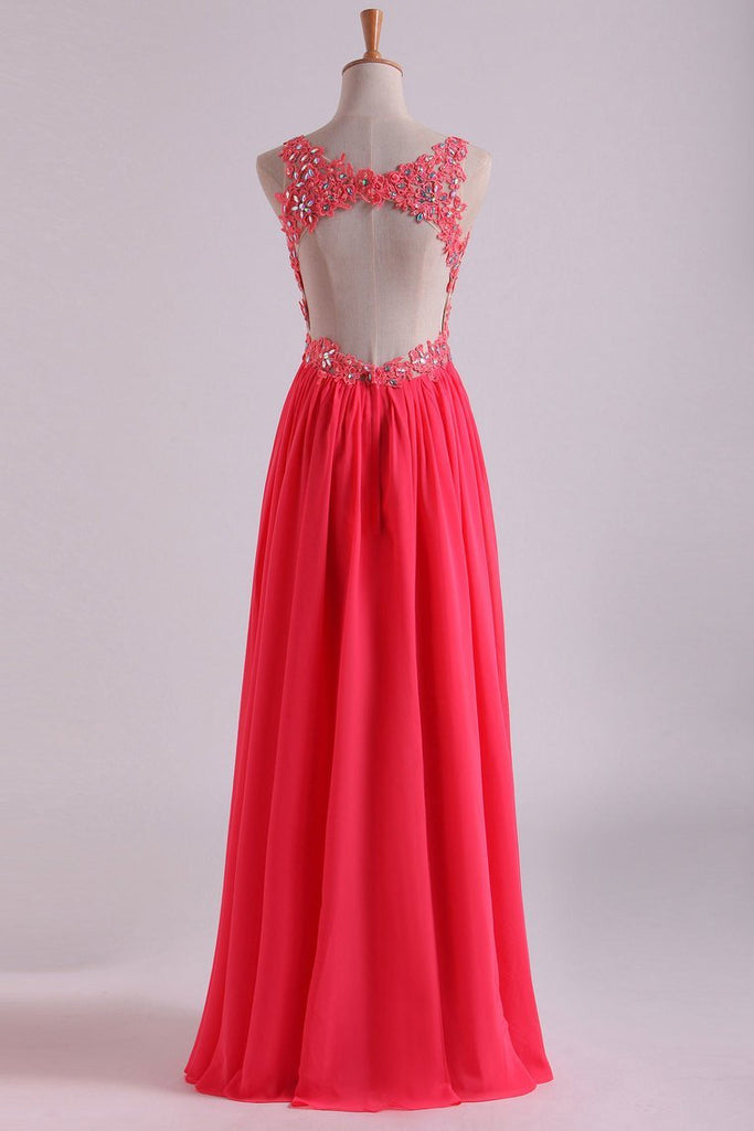 Open Back V Neck Prom Dresses Beaded Bodice Chiffon Floor Length