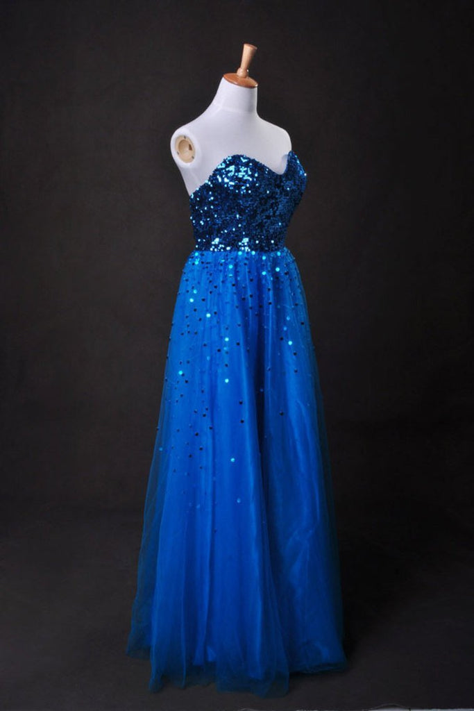 Cheap Prom Dresses Blue A Line Sweetheart Floor Length Organza