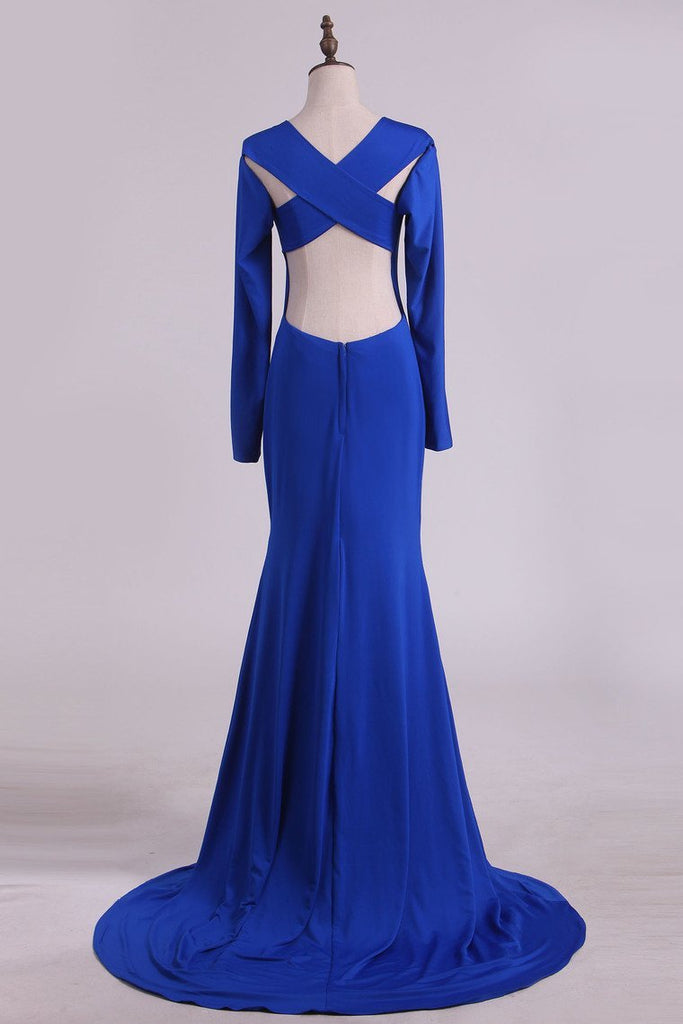 Scoop Prom Dresses Long Sleeves Spandex Open Back Drak Royal