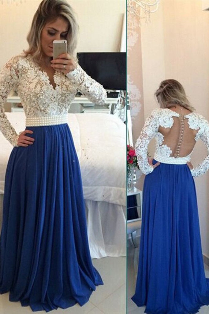 V Neck Prom Dresses A Line Chiffon With Applique Sweep Train Dark Royal