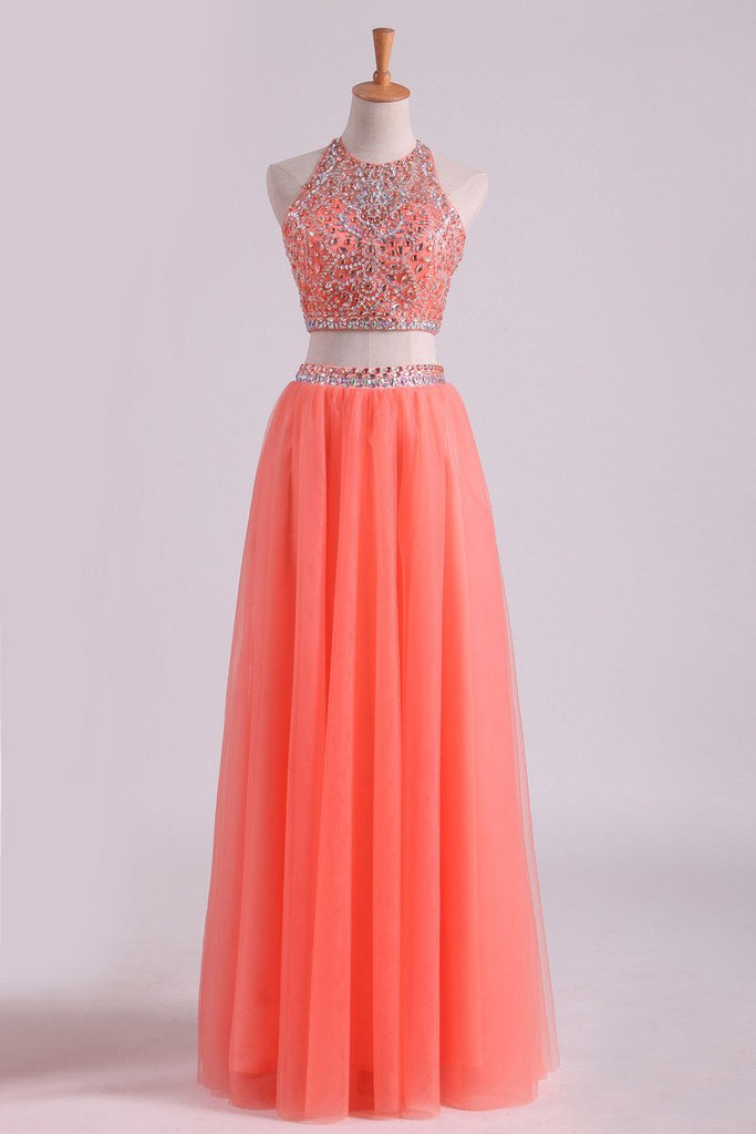 Two-Piece Halter A Line Prom Dresses Beaded Bodice Tulle Floor