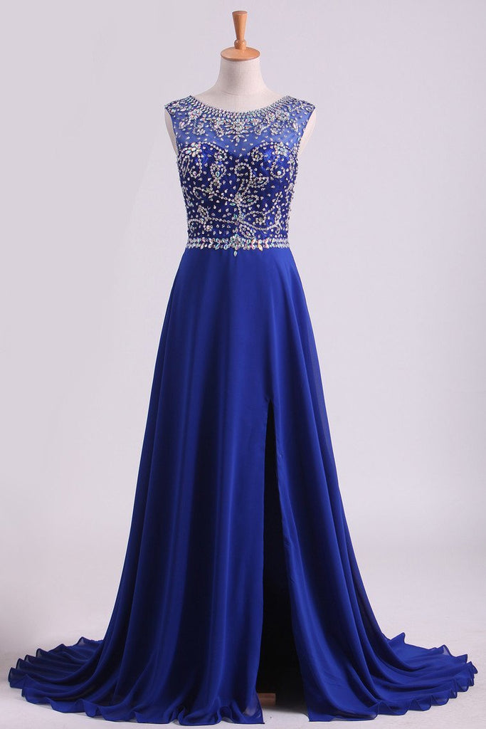 Dark Royal Blue A-Line Bateau Sweep Train Chiffon&Lace Prom Dresses With Slit