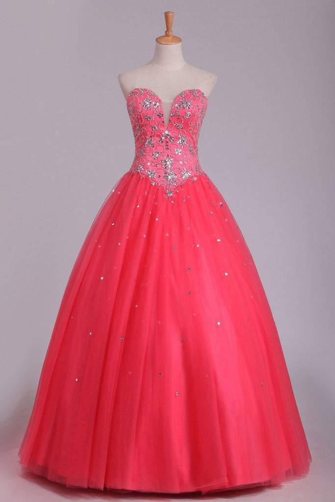 Quinceanera Dresses Ball Gown Sweetheart Floor Length Beaded Bodice