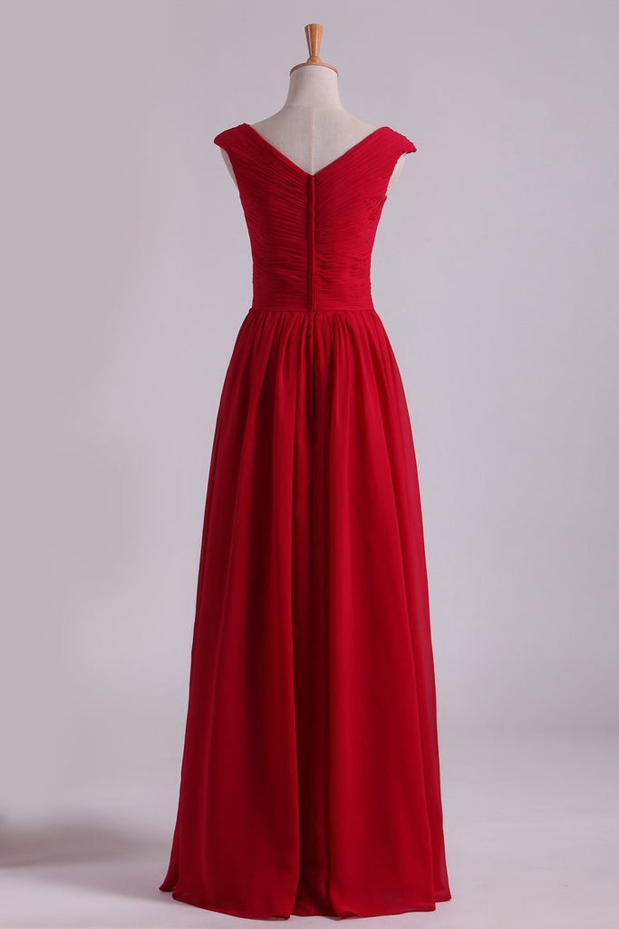 Burgundy Off The Shoulder Evening Dresses A Line Ruched Bodice Chiffon Floor Length