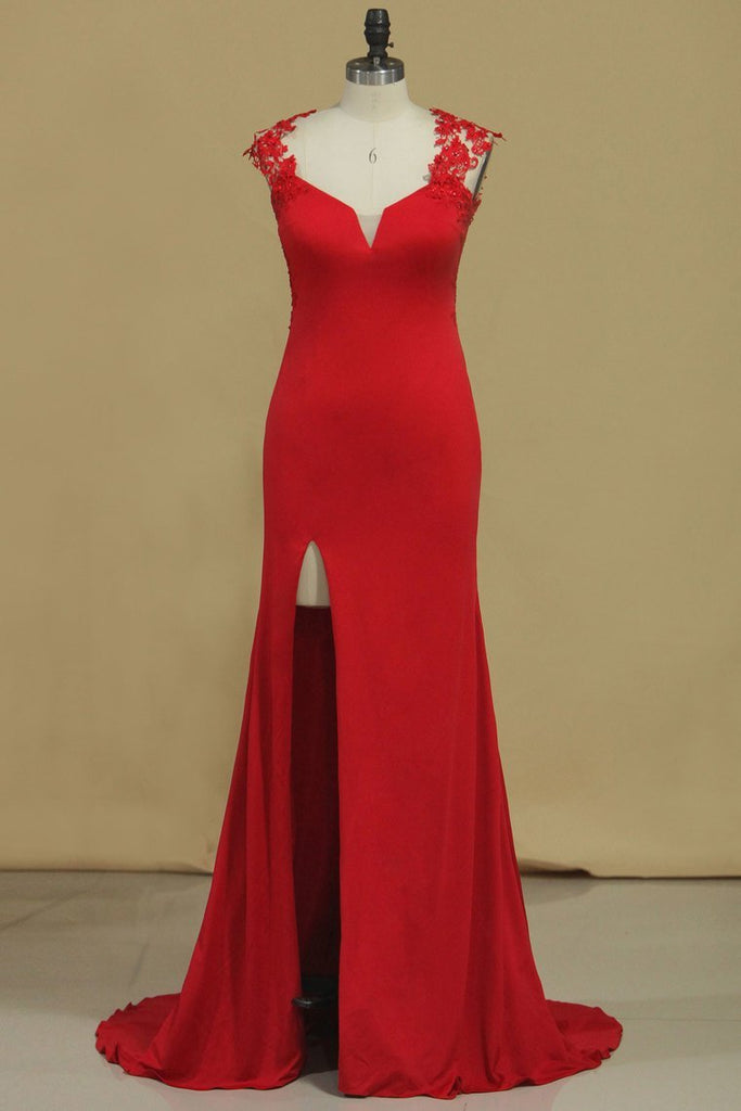 Red Straps Open Back Sheath Prom Dresses Spandex With Applique Open
