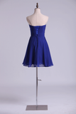 A Line Homecoming Dresses Dark Royal Blue Chiffon Mini With Beading