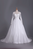 Long Sleeves Scoop Ball Gown Wedding Dresses Tulle With Applique And Sash