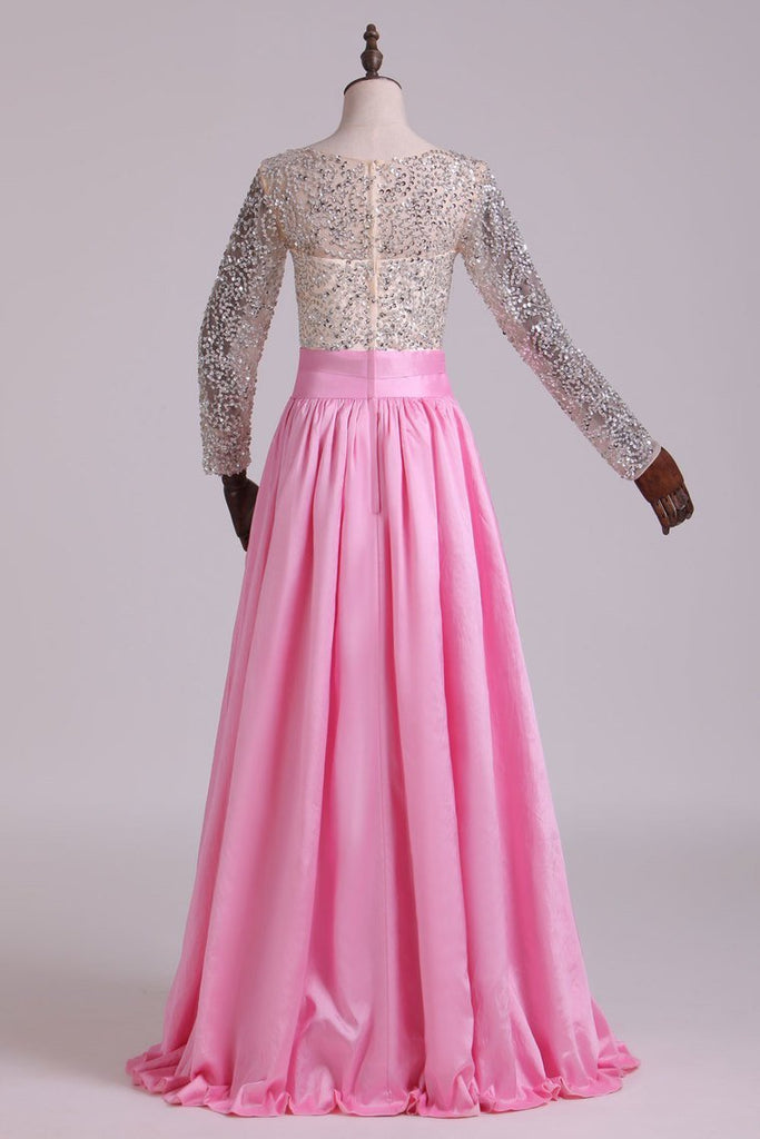 Prom Dresses V Neck Long Sleeves A Line With Beading Taffeta
