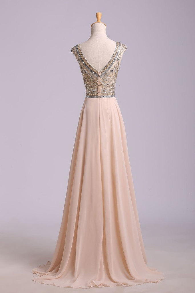 Prom Dress Scoop A Line Floor Length Beaded Tulle Bodice With Chiffon Skirt