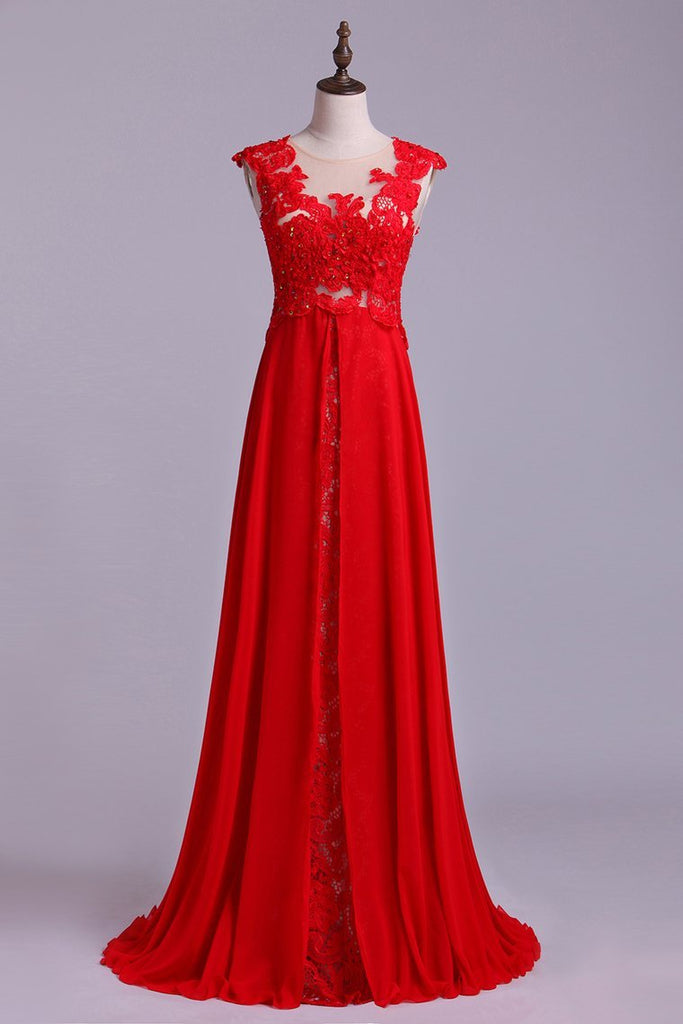 Scoop Neckline Embellished Bodice With Beadeds&Applique Long Chiffon Prom