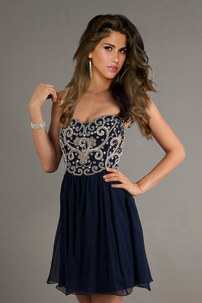 Homecoming Dresses A Line Short/Mini Sweetheart Chiffon With Beads&Sequins