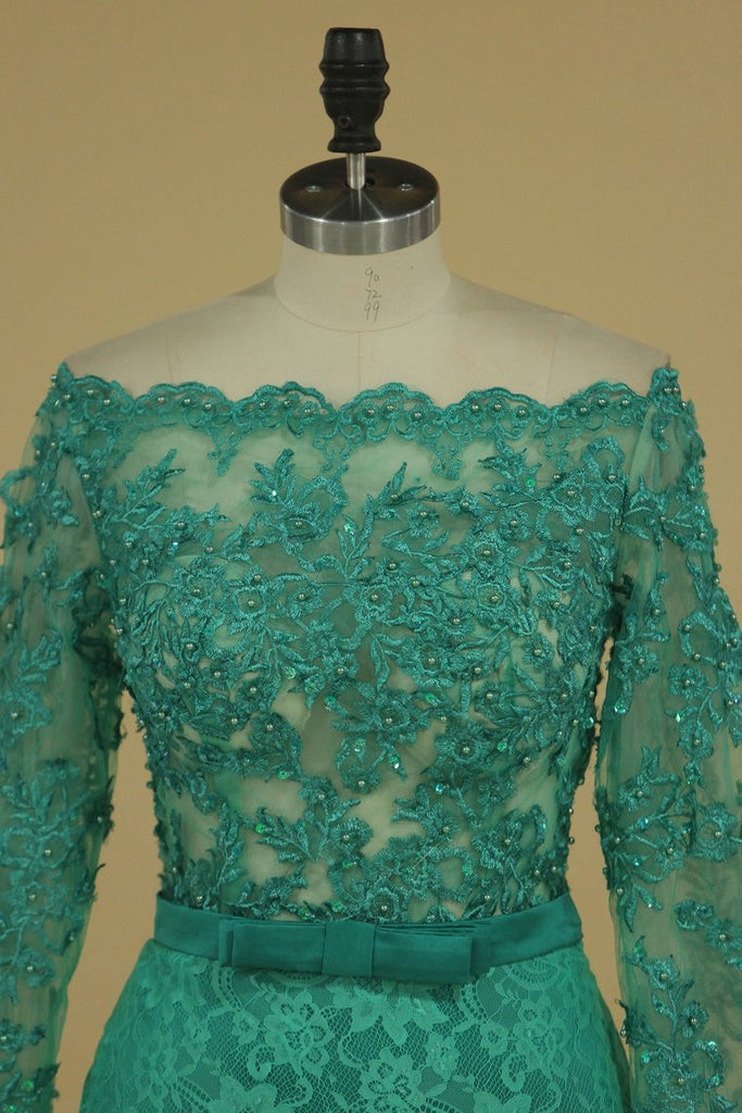 Off The Shoulder Prom Dresses Mermaid Lace With Sash And Beads Long Sleeves