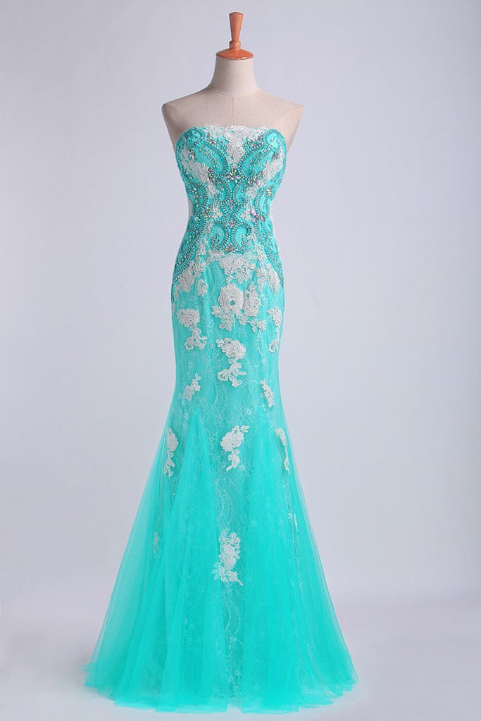 Prom Dresses Strapless Column With Beading And