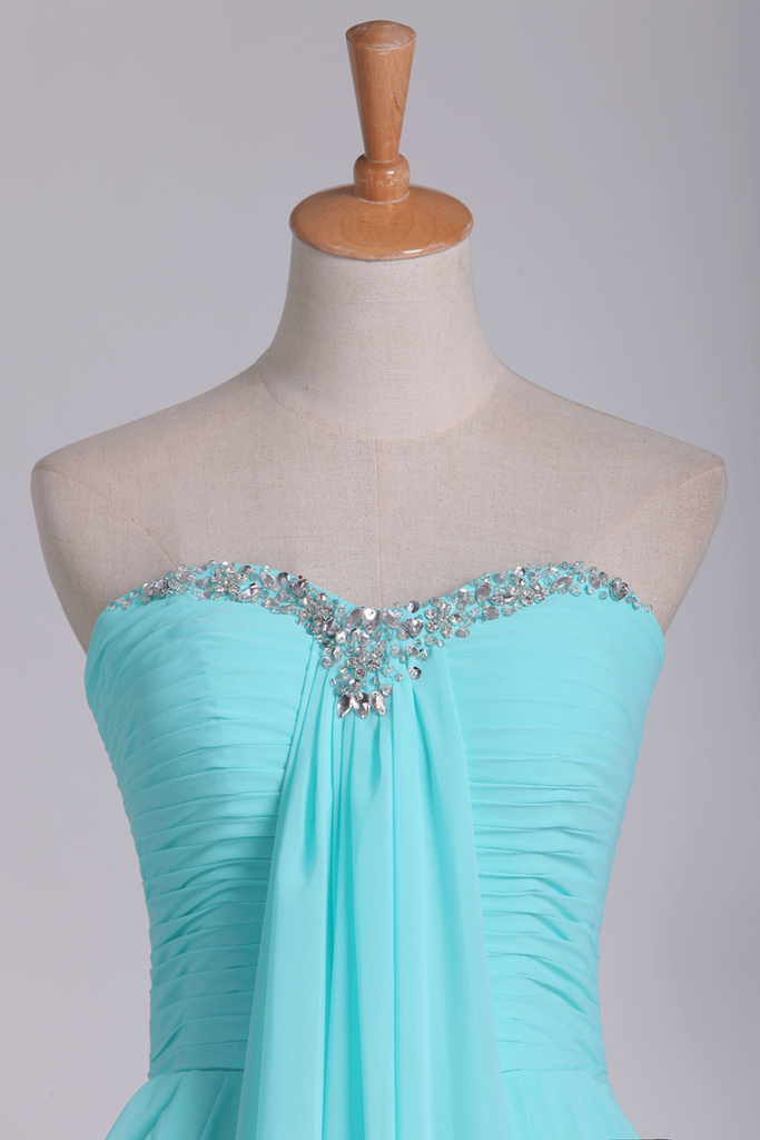 Prom Dresses Sweetheart A Line Chiffon With Beads And