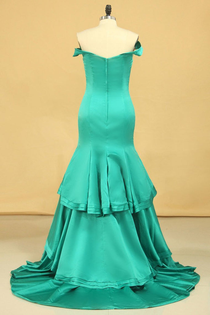 Off The Shoulder Mermaid Prom Dresses  Sweep Train Satin Zipper Back