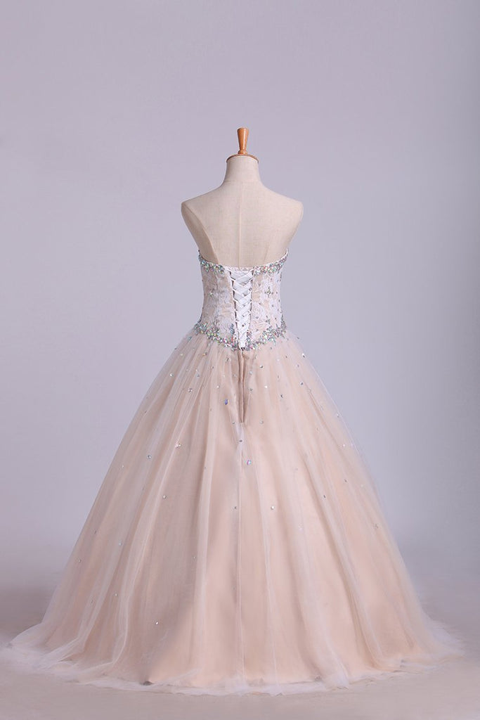 Quinceanera Dresses Sweetheart Beaded Neckline And Waistline Ball Gown