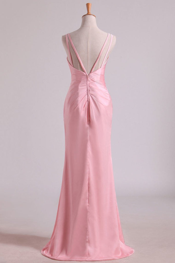 Bridesmaid Dresses V Neck A Line Chiffon With Slit And Ruffles