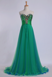 Sweetheart Prom Dresses Empire Waist Floor Length With Beading/Sequins