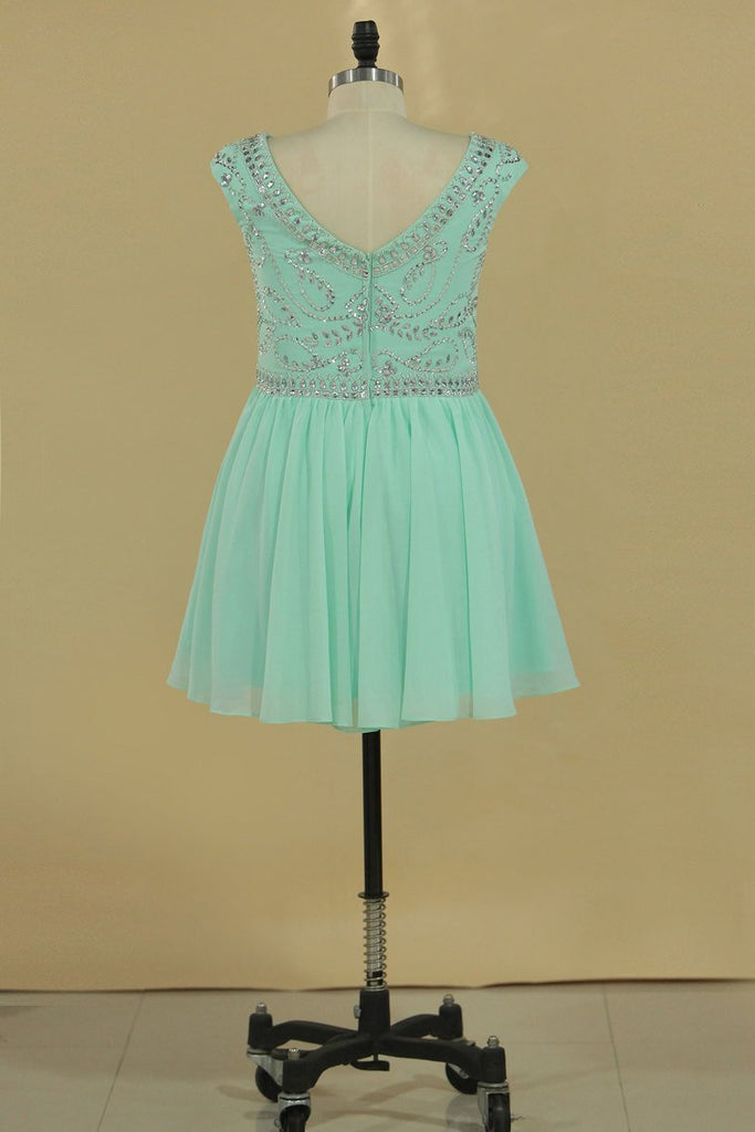 Homecoming Dresses Scoop Cap Sleeves Beaded Bodice A Line Chiffon