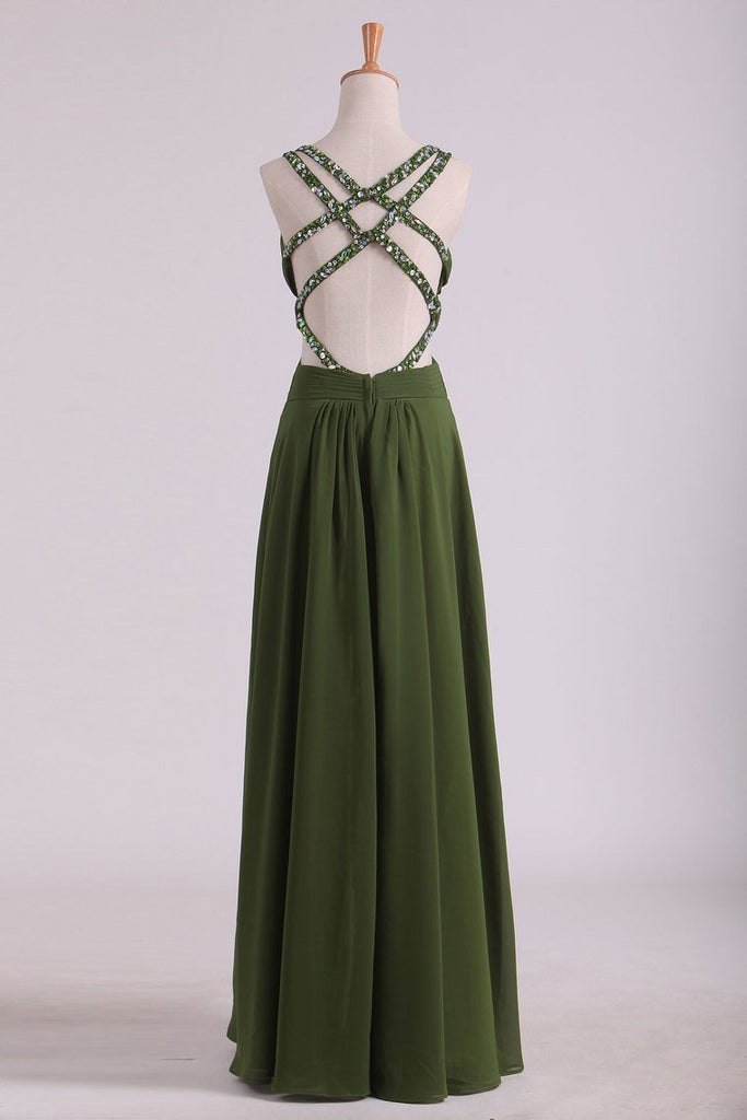 Chiffon Prom Dresses Spaghetti Straps With Ruffles And Beads Open Back