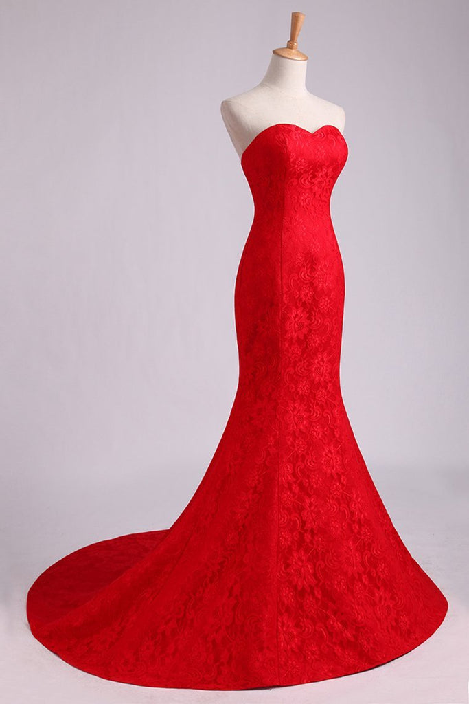 Evening Dresses Mermaid/Trumpet Sweetheart Lace Court Train