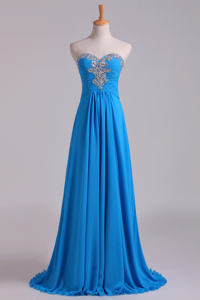 Sweetheart Beaded Neckline Prom Dress A Line With Ruffles