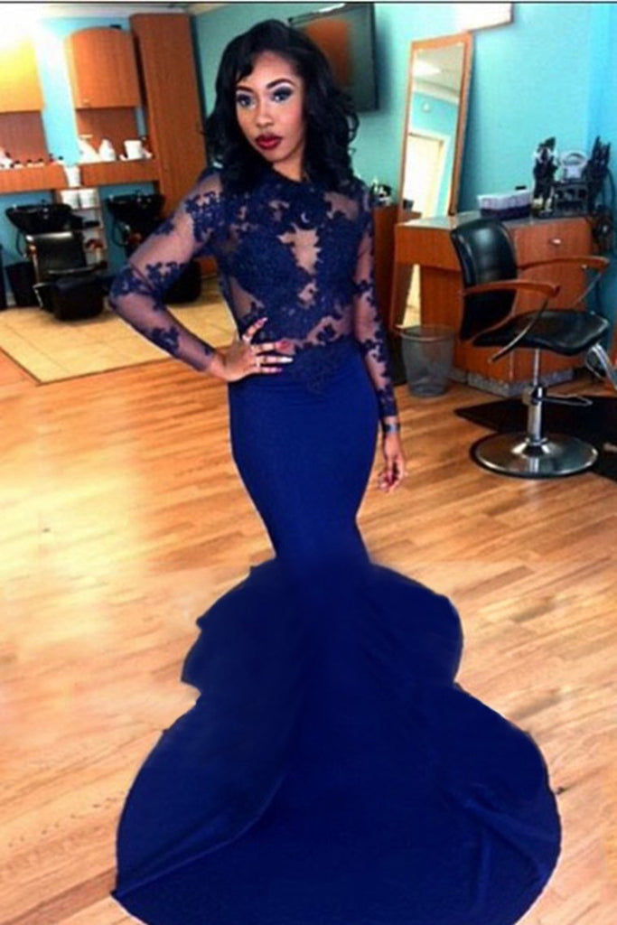 Long Sleeve Evening Dresses Mermaid/Trumpet Elastic Satin With Applique