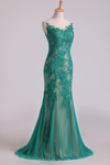 Mermaid Scoop Floor Length Evening Dresses Tulle With Applique