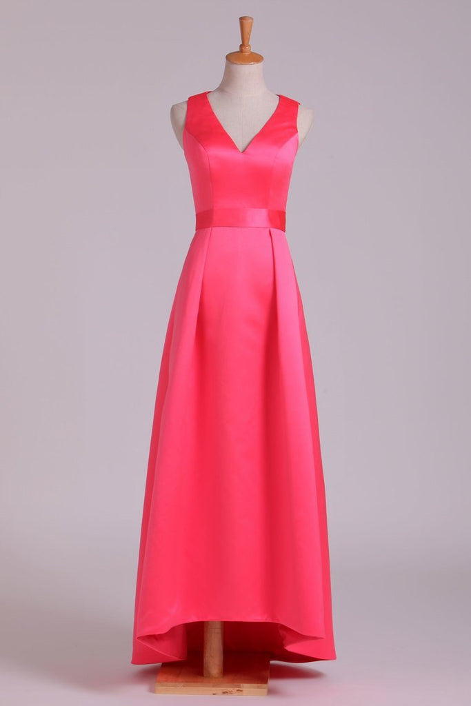 Bridesmaid Dresses V Neck Ankle Length Satin