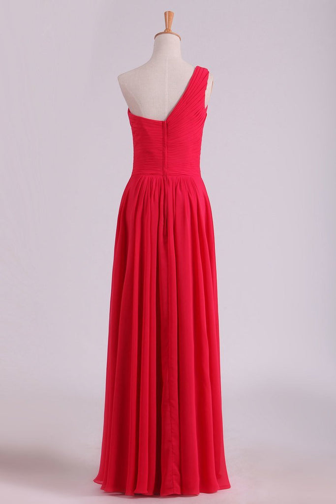One Shoulder Prom Dresses A Line Chiffon Floor Length With Ruffles