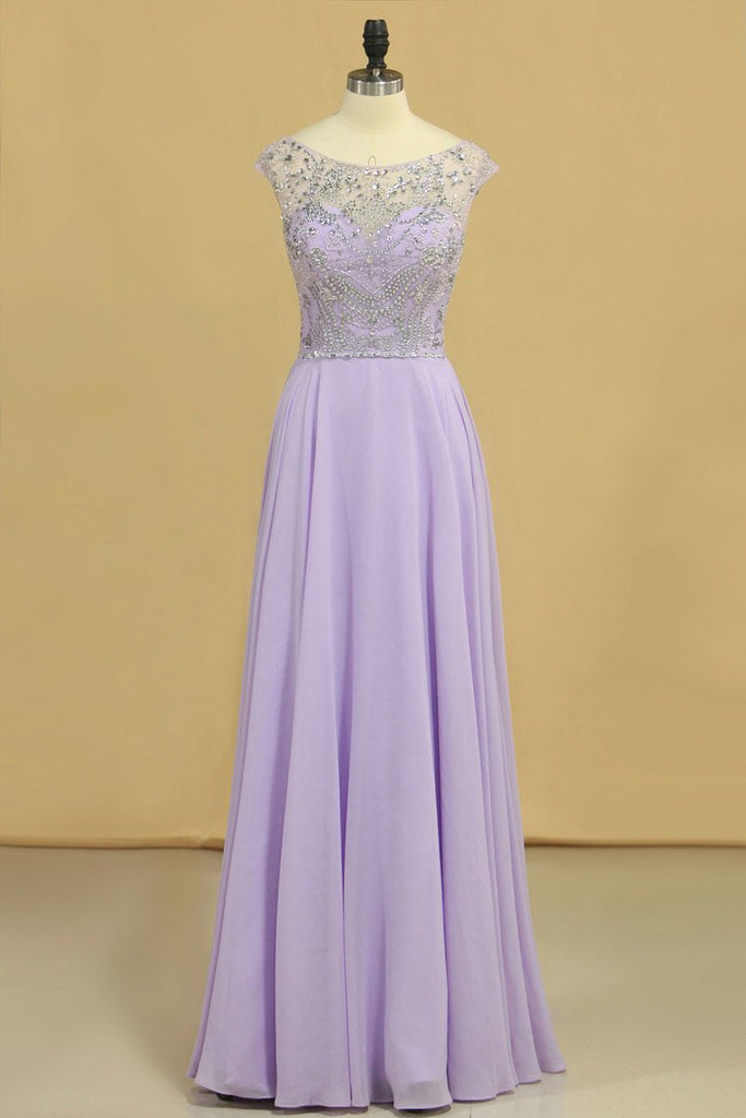 Prom Dresses A-Line Scoop Floor-Length Chiffon Beaded Bodice
