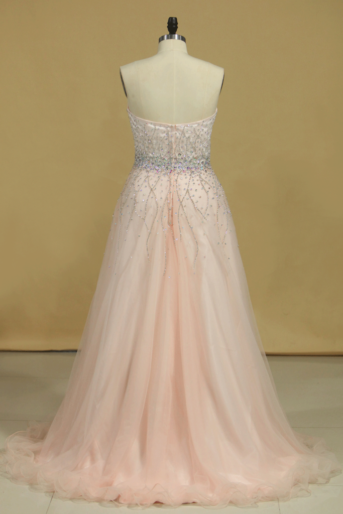 Prom Dresses Sweetheart Tulle With Beading And Rhinestones Sweep