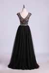 Scoop A-Line Prom Dress Floor-Length Full Beaded Bodice Champagne