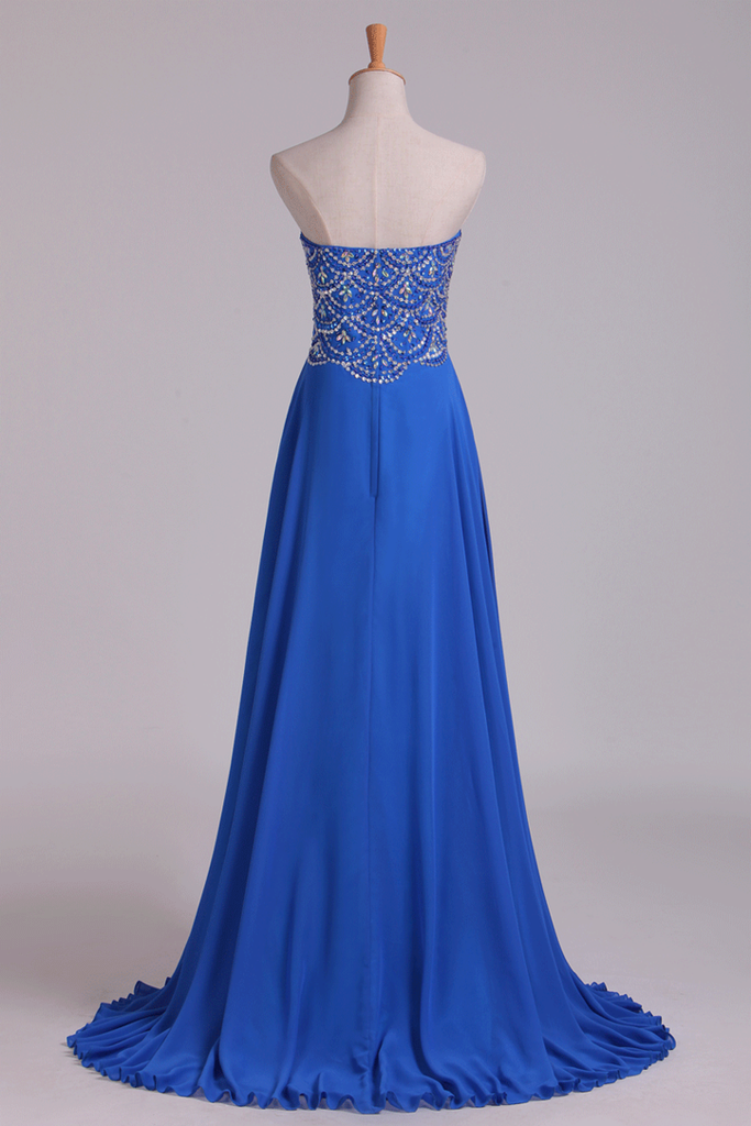 New Arrival Dark Royal Blue Sweetheart Prom Dresses A Line With Beaded Bodice Chiffon
