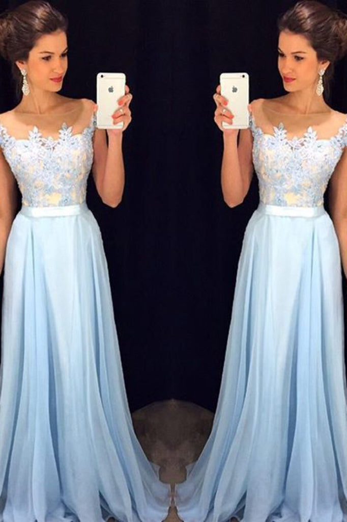 Scoop Cap Sleeves Prom Dresses Chiffon With Applique Floor