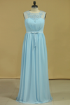 Plus Size Scoop A Line Evening Dresses Chiffon With Ruffles And Sash