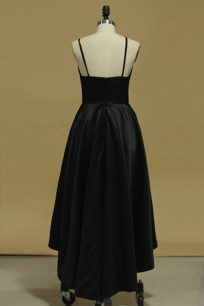 New Arrival Asymmetrical Evening Dresses Sheath Spaghetti Straps Black