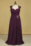 Plus Size A Line Mother Of The Bride Dresses Open Back Chiffon With Beads And Ruffles Grape