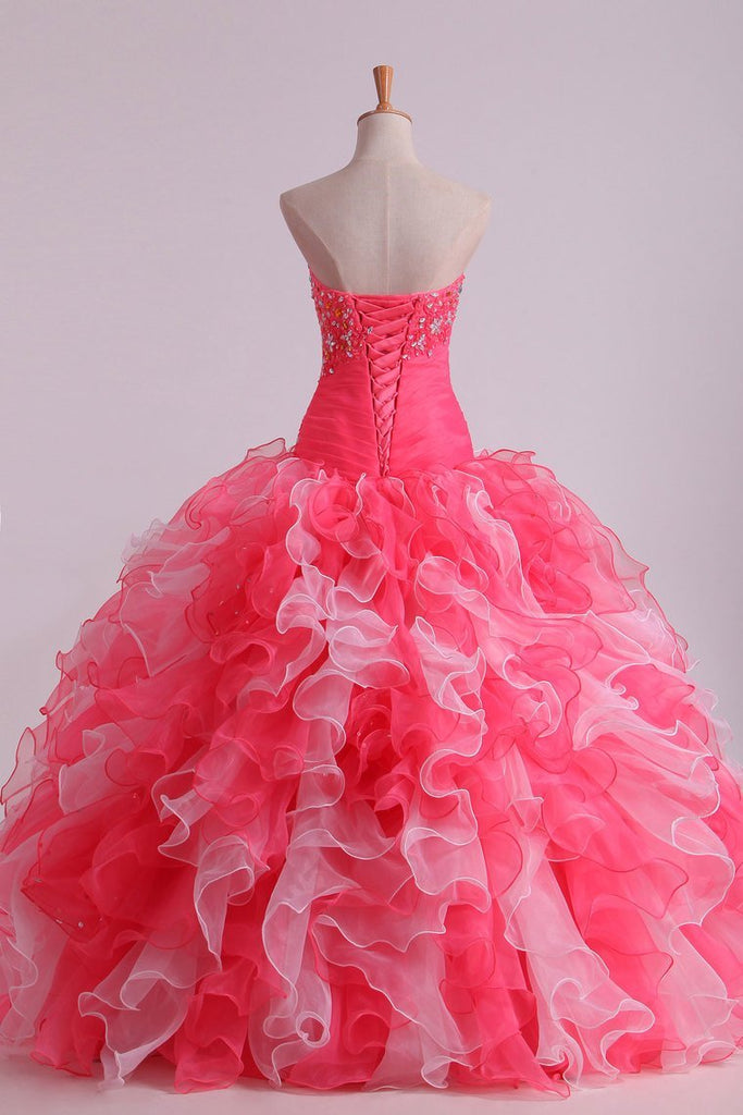 Bicolor Ball Gown Quinceanera Dresses Sweetheart Pleated Bodice With Beads And Applique