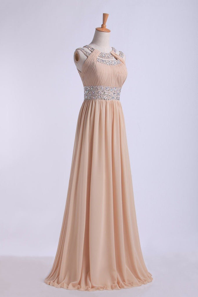 Prom Dresses Scoop A Line Floor-Length Open Back Chiffon With Beading