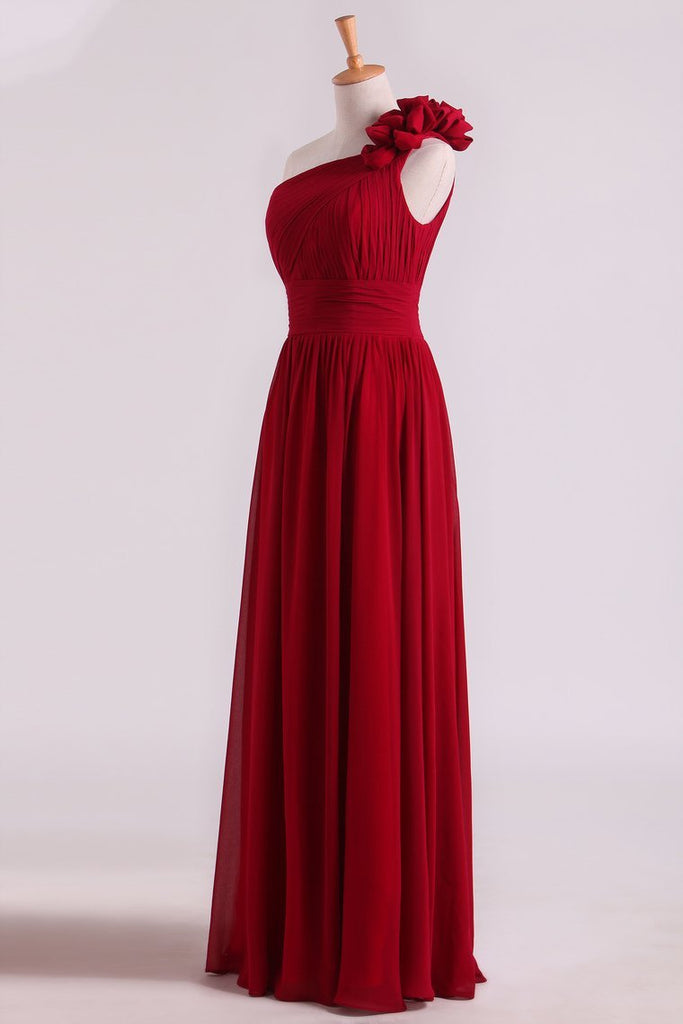One Shoulder Bridesmaid Dresses Chiffon With Handmade Flower Burgundy/Maroon