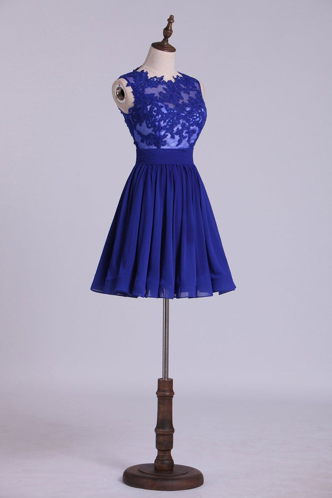 Hot Selling Homecoming Dresses Scoop A-Line Short/Mini Chiffon Dark Royal Blue